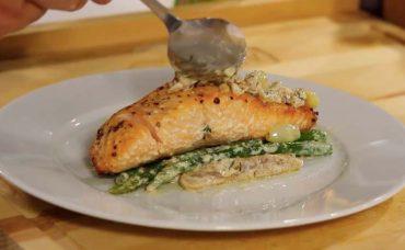 Kuşkonmazlı Kremalı Somon Balığı