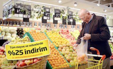 Migros'ta Tüm Meyve ve Sebzelerde % 25 İndirim!
