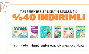 Migros'ta Tüm bebek Bezlerinde Aynı Ürünün 2. si Yüzde 40 İndirimli!