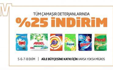 Tüm Çamaşır Deterjanlarında Yüzde 25 İndirim Migros'ta!